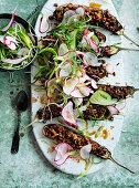 Walnut and Miso Filled Eggplant with Radish Salad