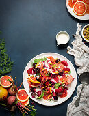 Roasted beetroot and grapefruit salad with goat's cheese crème