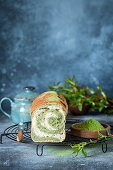 Matcha yeast cake or bread
