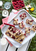 Raspberry Walnut slice