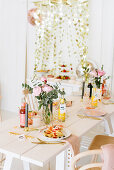 Buffet table and dining table set for summer waffle party