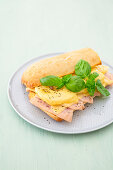 Ciabatta with sliced turkey breast, pineapple and cheese