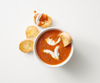 Gazpacho with burrata and grilled bread