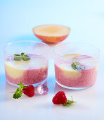Raspberry and mango smoothie in two small glasses with yoghurt, milk and lemon balm