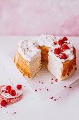 Chiffon cake with raspberries, sliced