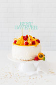 Peach raspberry cake for the birthday