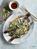 Steamed fish with ginger and spring onions (Canton, China)