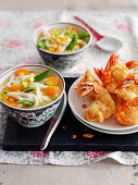 King prawn tempura with miso soup (Japan)