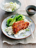 Sweet soy salmon with rice and bok choy (China)