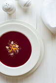 Beetroot soup with almonds and orange zest