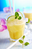 Non-alcoholic exotic fruit drink with pineapple, grapefruit, lime and coconut milk