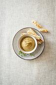 Baba ganoush with bread sticks (aubergine cream, Levant cuisine)
