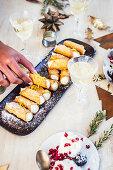 Cannoli with lemon ricotta and mascarpone for Christmas