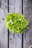 Fresh lettuce on a wooden surface