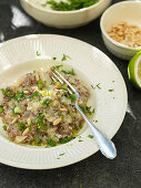 Red risotto with fennel and pine nuts