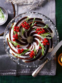 Rich chocolate wreath cake with ginger frosting