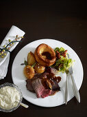 Roast rib of beef with Yorkshire puddings