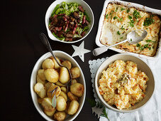 Sage roast potatoes, Celeriac gratin, Savoy cabbage with chestnut butter and pancetta, Root mash with mustard butter
