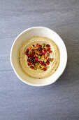 Hummus with pistachio and pomegranate
