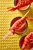 Prawn skewers with a dip