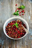 Chocolate granola with pomegranate