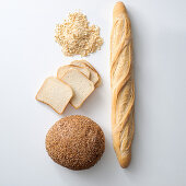 Bread crumbs, baguette, sliced bread and wholemeal bread