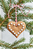 A gingerbread heart Christmas tree decoration