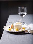 Fig ice cream parfait with whiskey cream sauce