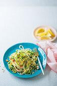 Pasta primavera with baby marrow fettuccine
