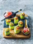 Cucumber rolls with prawn avocado mixture