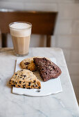 Chocolate chip scones, cranberry scones, and double chocolate scones