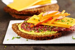 Power Bread: wholegrain bread with mustard, salami, cheddar, vegetables and chives