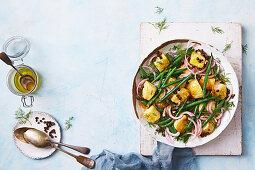 Crushed parmesan potato and green bean salad