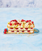 Coconut, banana and raspberry mill-feuille