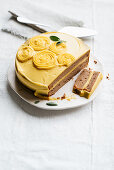 Chestnut cake with pumpkin buttercream