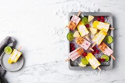Raspberry crumble ice-pops, Pina colada yoghurt pops