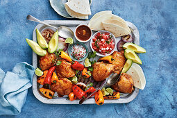 Corona braised chicken with pico de gallo