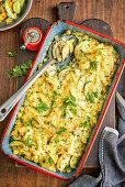 Pasta casserole with chicken Kievs