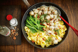 Swedish meatballs with pappardelle