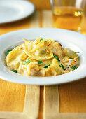 Ravioli with polenta filling