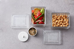 Prepared ingredients for bowls