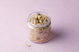 Fruity muesli in a storage jar
