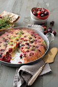 Upside down cherry cake with thyme