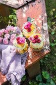 Summer dessert in the garden served in jars, prepared from crushed cookies, peaches, vanilla cream and fresh raspberries