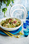 Spagetti with zucchini and squid