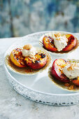 Grilled peaches with whipped ricotta and Amaretti biscuits