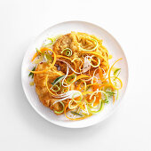 Sweet-and-sour Viennese escalope with julienne vegetables