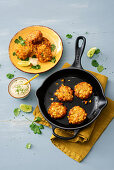 Corn fritters with lime sour cream