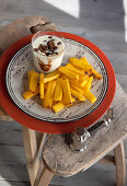 Polenta fries with cheese fondue