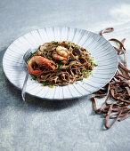Coffee pappardelle with shrimps and porcini mushrooms